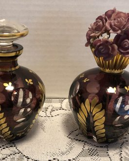 Pair Of Cut To Clear Glass Perfume Bottle And Atomizer