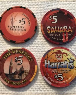 Group Of 8 Casino Chips – $5 Chips (4), $1 Chips (4)  – Group 6