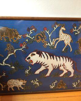 "Batik Tulis Winotosastro Yogya Indonesia Art, Animals, Framed With Glass, Measures 35.5"" x 24.5"""
