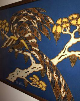 "Batik Tulis Winotosastro Yogya Indonesia Art, Bird, Framed With Glass, Measures 32"" x 23"""