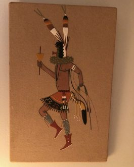 "David V. Lee Sand Painting of Dancer Holding Spruce And Rattle, Measures 13-1/8"" x 8"""