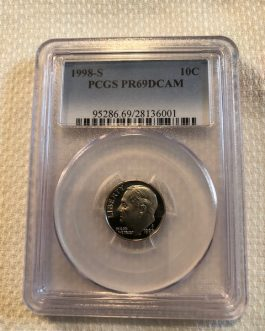 1998-S Roosevelt Dime Proof Professional Graded PCGS PR69DCAM