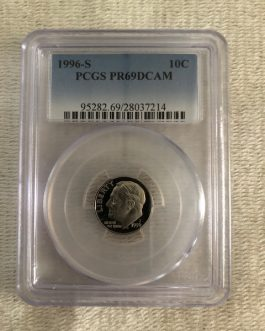 1996-S Roosevelt Dime Proof Professional Graded PCGS PR69DCAM