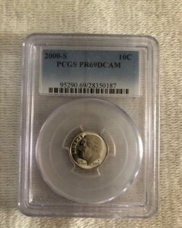 2000-S Roosevelt Dime Proof Professional Graded PCGS PR69DCAM
