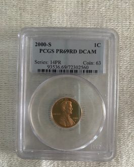 2000-S Lincoln Penny Proof Professional Graded PCGS PR69RD DCAM