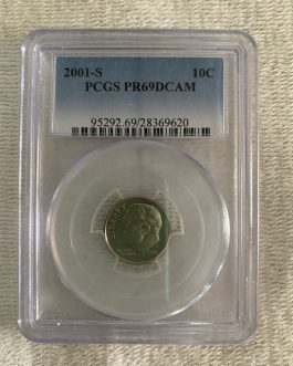 2001-S Roosevelt Dime Proof Professional Graded PCGS PR69DCAM