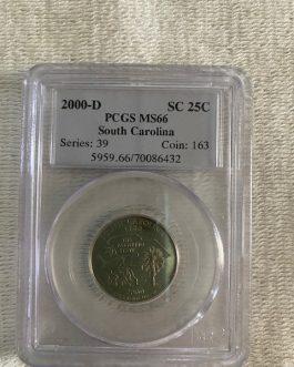 2000-D South Carolina Quarter Professional Graded PCGS MS66