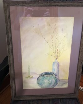 Kenneth Pauli Watercolor Still Life With Green Jug 1985