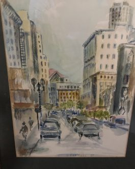 "Kenneth Pauli Watercolor Titled ""O'Farrell Street, San Francisco"""