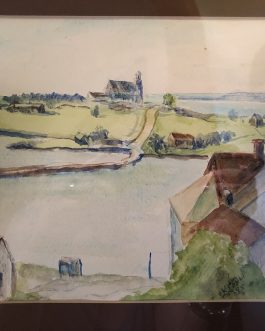 Kenneth Pauli Watercolor Of Riverfront 1985