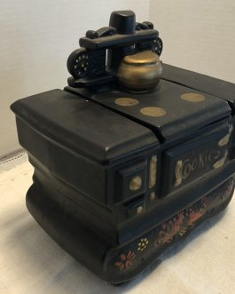 Vintage McCoy Pottery Cookie Jar Ceramic Black Cast Iron Wood Stove – USA