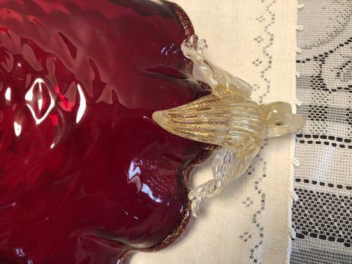 Murano Bowl Ruby Red Open Pontel Swan Handles