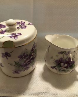 Victorian Violets Countryside Hammersley Sugar Bowl with Lid and Creamer