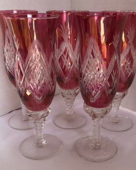 Set of 5 Vintage Or Antique Champagne Glasses Flutes, Etched Cut Cranberry Glass