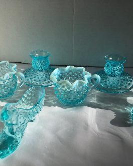 Group Of Light Blue Glass, Shoes, Candle Holders, Cream & Sugar