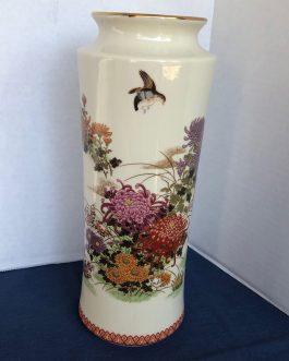 Beautiful Vintage Japanese Vase With Flowers, Birds & Butterflies