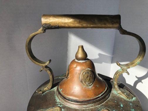 Antique Large Copper Teapot With Brass Applique