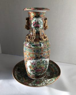 1800's Chinese Rose Medallion Porcelain Vase and Charger – Beautiful Condition