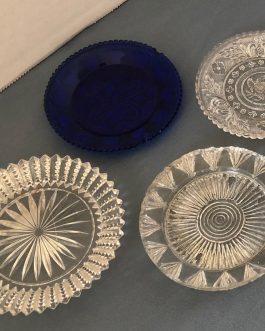 Group Of 7 Antique Sandwich Glass Lacy Cup Plates Flint