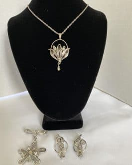 Ann Lee Sterling Necklace, Brooch, and Earring Set