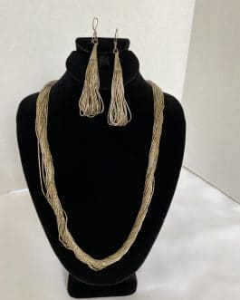 Sterling Multi Strand Necklace With Matching Earrings
