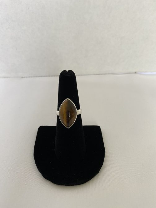 Terrific Tiger Eye And Sterling Silver Ring, Size 7