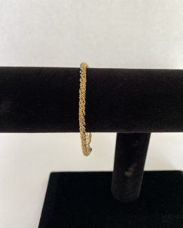 """Gold Over Sterling Silver Rope Style Bracelet 7"""""""