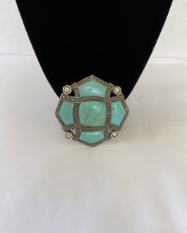 Bold And Beautiful Sterling Silver And Marcasite Brooch