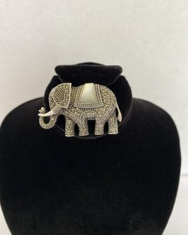 Sterling Silver Marcasite & Mother Of Pearl Elephant Pendant/Brooch
