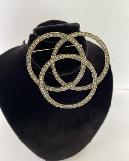 LOOK! Huge Gorgeous 3 Ring Open Sterling Marcasite Brooch