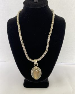 Heavy Ornate 15″ Sterling Silver Necklace & Mexico Pendant