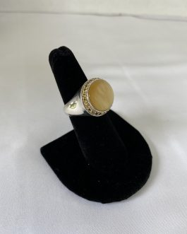 Sterling Silver And Yellow Mother Of Pearl Oblong Ring, Size 7