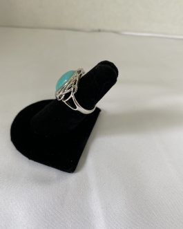 Sterling Silver Turquoise Colored Estate Ring, Size 6