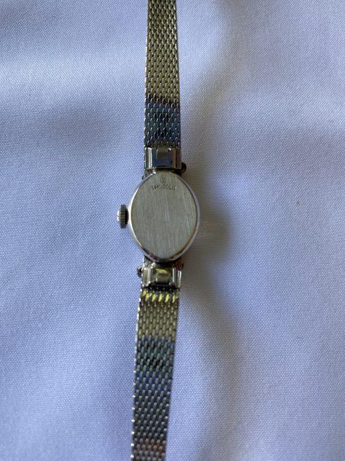 14K White Gold Hamilton Ladies Vintage Art Deco 10 Diamond Mechanical Watch