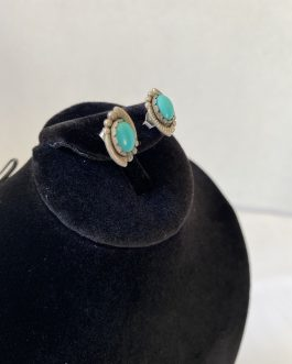"""Beautiful Pair Of Sterling Silver And Turquoise Earrings, ½"""" In Length"""