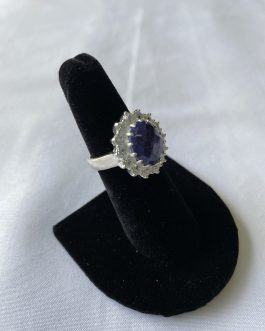 Beautiful Blue Lapis With Surrounded By Prong Set CZ's – Size 7