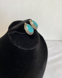Beautiful Pair Of Sterling Silver And Turquoise Earrings
