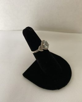 Beautiful Sterling Silver Ring With Large Pale Blue Stone And Smaller Clear Stones, Size 5½