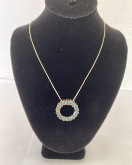 """Beautiful Sterling Silver Necklace 26"""" With Blue Stone Circle Pendant"""