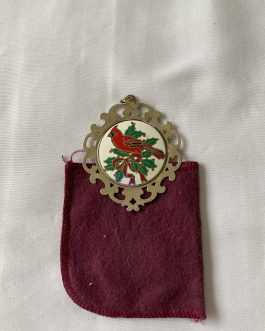 Lunt Sterling Silver Christmas Cardinal Ornament 1989 With Cloth Holder