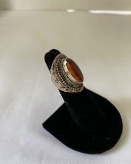 BALI Sterling Silver And Amber Ring, Size 4½