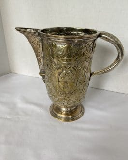 Early Hand Hammered & Carved Silver Over Copper Large Pitcher